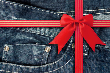 Denim Pocket Closeup with Red Bow
