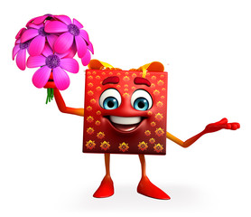 Gift Box Character with flowers