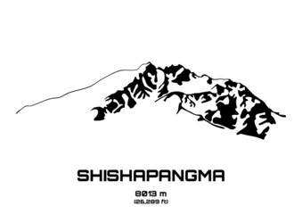 Outline vector illustration of Mt. Shishapangma