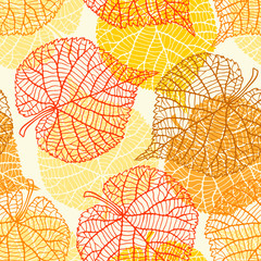 Seamless vector pattern with stylized autumn leaves.
