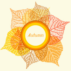 Background, greeting card with stylized autumn leaves.