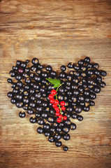 black currants  in the form of hearts