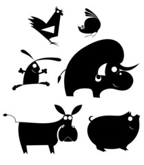 Vector comic farm animal silhouettes collection for design