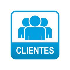 Etiqueta tipo app azul CLIENTES