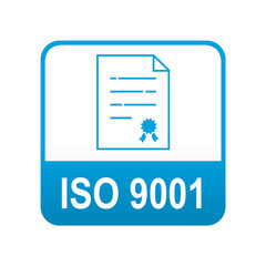Etiqueta tipo app azul ISO 9001