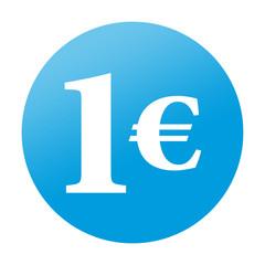 Etiqueta tipo app redonda azul 1€