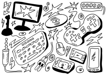 doodles set computers games