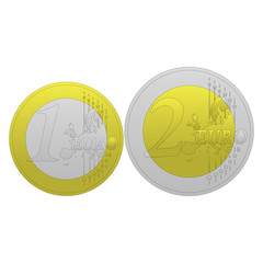 1 and 2 euros coin vector