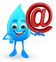 Water Drop Character with at the rate sign
