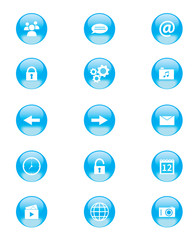 Set of blue and white circular buttons for phone apps or web