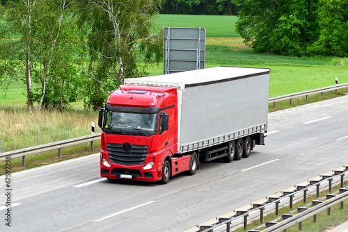 canvas print picture LKW auf Autobahn // Truck on highway