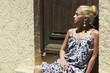 Beautiful blond woman near old wooden door.beauty girl.summer