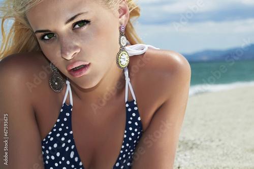 beautiful woman on the beach.girl in bikini.summer holidays