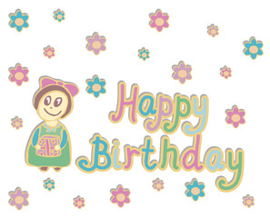 happy birthday card with a girl 1