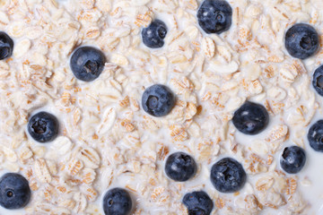 background of cereal with milk and blueberries macro horizontal.