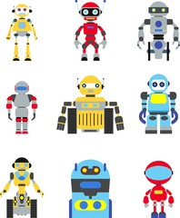 Abstract robots set isolated on white background