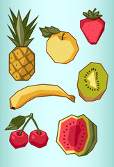 set of fruit: pineapple, apple, banana, cherry, strawberry, wate