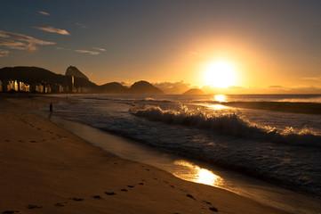 Sunrise in famous Copacabana Beach in Rio de Janeiro