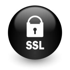 ssl black glossy internet icon