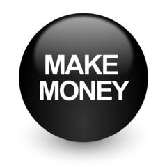 make money black glossy internet icon