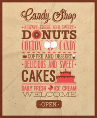 Candy shop text.