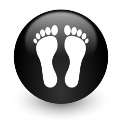 foot black glossy internet icon