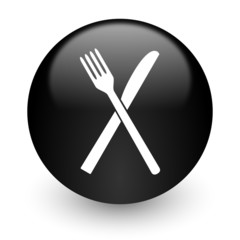 restaurant black glossy internet icon