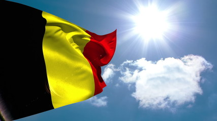 Belgium national flag waving