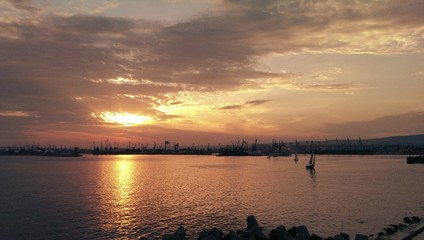 Port of Varna, orange sunset landscape