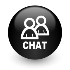 chat black glossy internet icon