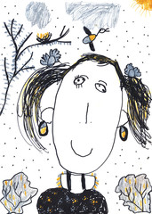 Child's crayon drawing of a girl