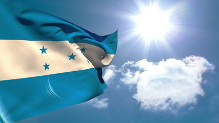 Honduran national flag waving