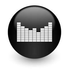 sound black glossy internet icon