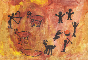 Rock paintings of people and animals
