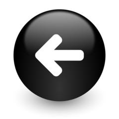left arrow black glossy internet icon