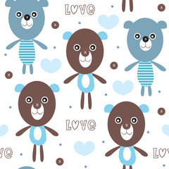 teddy bear pattern vector illustration