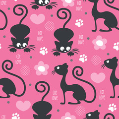 cat love pattern vector illustration
