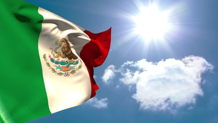 Mexican national flag waving