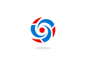 circle red and blue vector logo