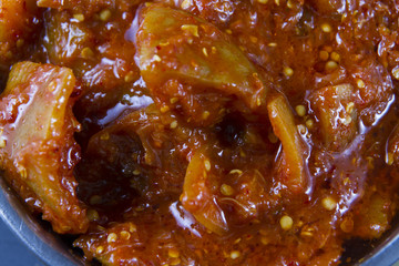 Lime pickle close up, macro.