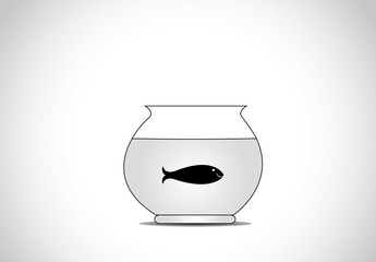 single black happy fish in glass aquarium bowl concept design