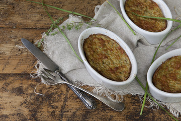 vegan vegetables souffle with vintage rustic background