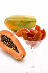 Papaya - a globose, green and yellow fruit.