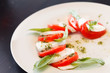 Tomato and mozzarella with basil leaves