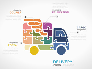 Delivery concept infographic template with truck