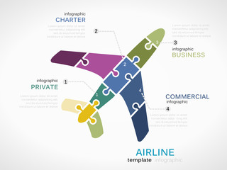 Airline concept infographic template with plane