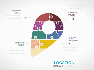Location concept infographic template with sign