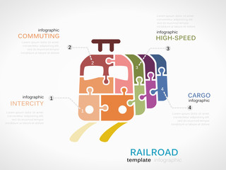 Railroad concept infographic template with train