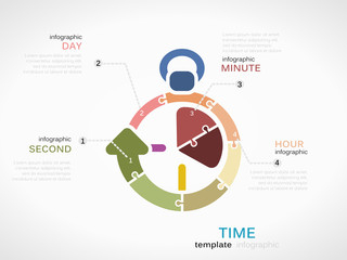 Time concept infographic template with clock