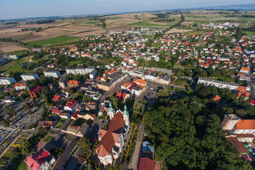 aerial view of Otmuchow town in Poland